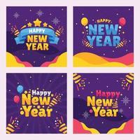 conjunto de mídia social de ano novo vetor