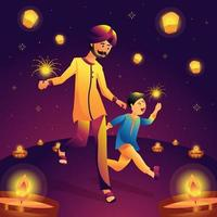 pai e filho no festival diwali vetor