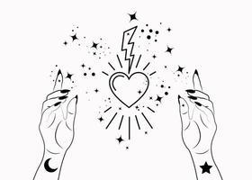 mulher mística mãos alquimia esotérica estrelas mágicas do espaço, relâmpagos e símbolo do coração sagrado vetor