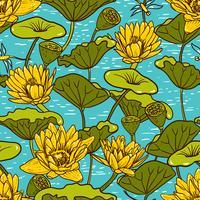 Lírios de água amarelo elegante, Nymphaea sem costura padrão floral vetor