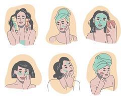 conjunto de mulheres aplicando vários produtos para a pele no rosto vetor