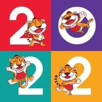 ano novo chinês de 2022 com tigres de desenhos animados em fundo colorido vetor