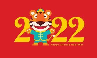 feliz ano novo chinês 2022 saudação com desenho animado bonito tigre vestindo terno espigão chinês tradicional. personagem de vetor