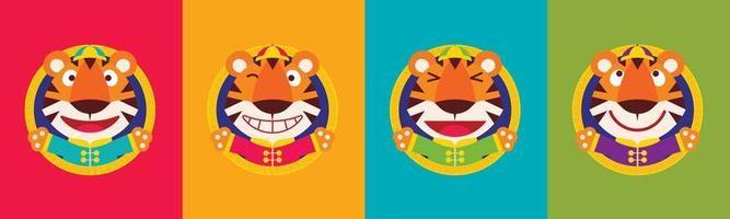 conjunto de desenho plano desenho bonito tigre com caras engraçadas vestindo roupas tradicionais chinesas celebra o ano novo chinês com fundo colorido vetor