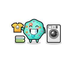 desenho da mascote da ameba com máquina de lavar vetor