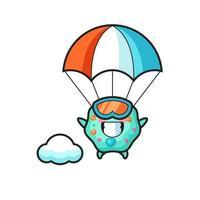desenho da mascote da ameba fazendo paraquedismo com um gesto feliz vetor