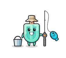 personagem mascote dos picolés como pescador vetor