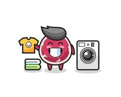 desenho de mascote de carne com máquina de lavar vetor