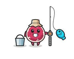 personagem mascote da carne como pescador vetor