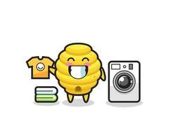 desenho de mascote de colmeia com máquina de lavar vetor