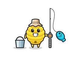 personagem mascote da colmeia como pescador vetor