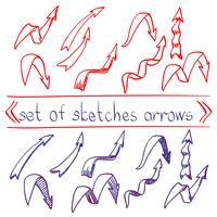 Seta de esboço de caneta vermelha e azul