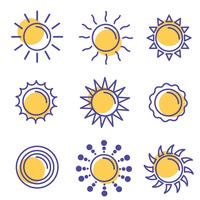 Pacote de vetores de ícone de sol