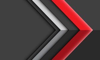 seta prata vermelha sombra direção cinza fundo futurista vetor