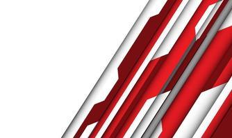 fundo de tecnologia futurista de espaço em branco geométrico cibernético vermelho vetor