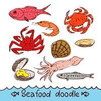 Frutos do mar, pintado no estilo do doodle, esboço, rabisco.