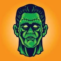 Zombie Frankenstein enfrenta ilustrações de halloween vetor
