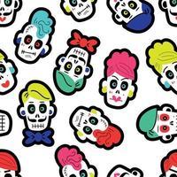 costura padrão com caveiras engraçadas. o padrão para o dia dos mortos vetor