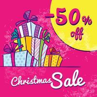 Banner de venda de Natal brilhante com caixas de presentes