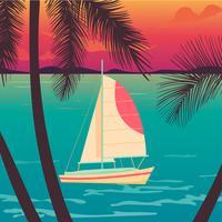 Iate em um pôr do sol e silhuetas de palmeiras.