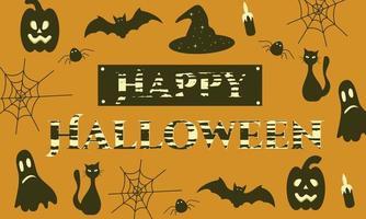 banner feliz dia das bruxas com morcego, teia, abóbora, gato vetor