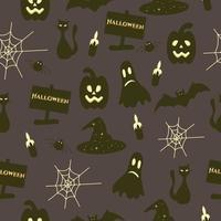 feliz dia das bruxas sem costura padrão com morcego, web, gato vetor
