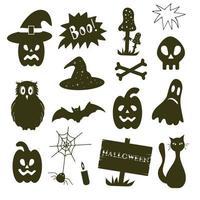 conjunto de elementos de halloween com caveira e ossos, abóbora, agaric mosca vetor