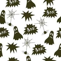 feliz dia das bruxas sem costura padrão com fantasma, teia de aranha, aranha, boo vetor