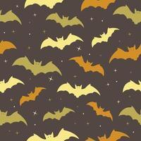 feliz dia das bruxas sem costura padrão com morcego, estrelas vetor