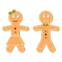 homem-biscoito e personagem de menina, biscoito de Natal. ilustração em vetor desenho animado isolada no fundo branco