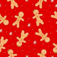 padrão sem emenda com homem-biscoito, menina e floco de neve, biscoito de Natal. ilustração vetorial dos desenhos animados sobre fundo vermelho vetor