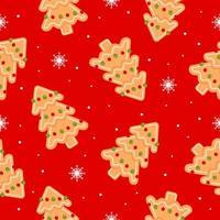 padrão sem emenda com árvore de Natal e floco de neve. biscoitos de gengibre em fundo vermelho. ilustração vetorial plana de ícone de natal vetor
