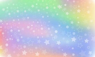 fundo de fantasia de arco-íris. ilustração holográfica. céu com estrelas. vetor