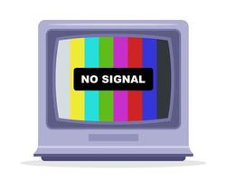 tv não recebe sinal de tv. monitorar com um arco-íris. vetor