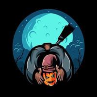 Halloween assustador, cabeça de abóbora decepada carregando uma vassoura nas costas com um fundo de lua. vetor de design de ilustração