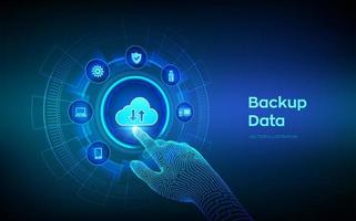 dados de armazenamento de backup. backup de nuvem on-line de dados de negócios. conceito de negócio de tecnologia de internet. conexão online. base de dados. interface digital tocante de mão robótica. ilustração vetorial. vetor
