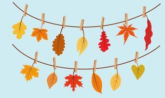 guirlanda de folhas de outono, folhas em prendedores de roupa. vetor