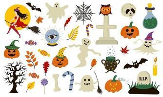 coleção de halloween com elementos desenhados à mão. perfeito para férias, decoração, adesivos. vetor