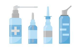 sprays nasais médicos. conjunto de vetores. medicamentos para o tratamento da rinite. objetos de farmácia para nariz isolado no fundo branco vetor