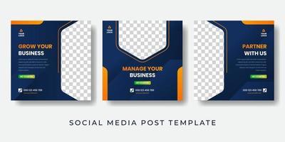 modelo de design de postagem de mídia social de agência de esporte empresarial. ilustração vetorial banner moderno com foto do espaço vetor