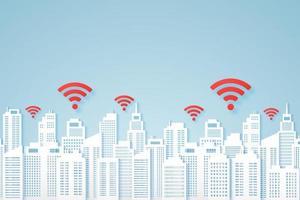 paisagens urbanas, prédio de papel com sinal, ícone de wi-fi vetor