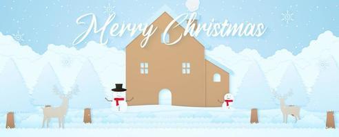 feliz natal, paisagem de inverno, renas, casa, boneco de neve e árvores na neve com neve caindo e flocos de neve, letras, estilo de arte em papel vetor