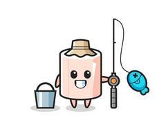 personagem mascote do rolo de tecido como um pescador vetor