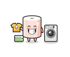desenho de mascote de rolo de papel higiênico com máquina de lavar vetor
