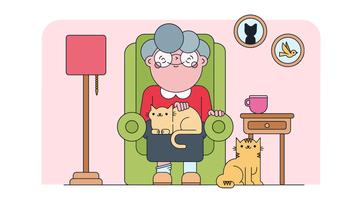 Vetor de senhora de gato