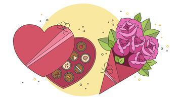 Chocolates E Flores De Vetor