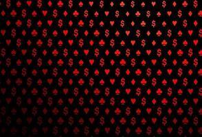 modelo de vetor vermelho escuro com símbolos de pôquer.
