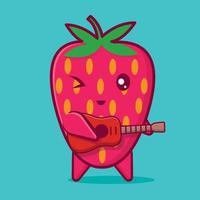 Personagem fofo mascote morango tocando desenho animado isolado de guitarra vetor