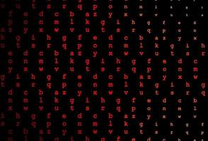 layout de vetor vermelho escuro com alfabeto latino.