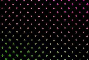 modelo de vetor rosa e verde escuro com símbolos de pôquer.